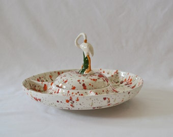 Unique Vintage Ceramic Chips And Dip Dish With Splatter Glaze and Bird