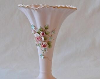 Vintage Lefton Exclusives Pale Pink Porcelain Vase with Delicate Flower