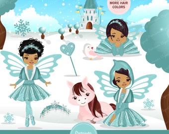 Fairy clipart, Winter fairy, Winter clipart, Girl clipart, Fairy, African American, Horse clipart, Commercial use - CA322
