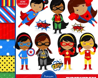 African American superhero clipart, supergirl clipart, superhero girl clipart, superhero costume, superheroes - CL145