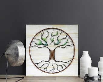 String Art Tree of Life wall art tree of life wall decor tree wall art tree wall hanging copper wire wall art white washed wood wall decor