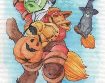 Trick or Treat | 4x6 Original Watercolor