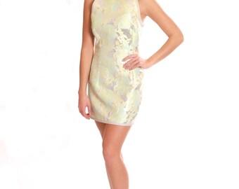 Lime green brocade mini dress