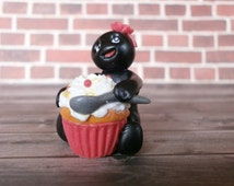 Cute Kitchen Decor - Polymer Clay Figure - Cute Cake Topper - Miniature People - Car Accessories - Naughty Sophie