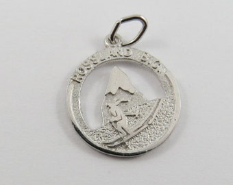 Skier in Rossland British Columbia Canada Sterling Silver Charm or Pendant.