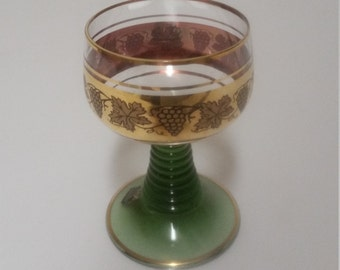 FEIX Kristall Limburgerhof Green and Gold Goblet With Grapes and Leaves