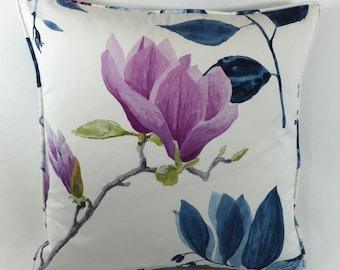 "Designer Guild Mokuren- Colour Indigo Cushion Cover 18""x18"" - Double Sided and Self Piped"