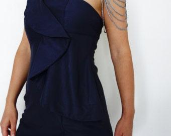 Crochet Pattern - Silver Shoulder Chain Necklace/ Crochet Asymmetrical Body Necklace, Textile Silk Body Jewelry