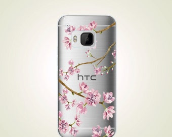 Cherry Blossom TPU Soft case Floral HTC one M9 case M9+ M9 plus case M8 case M7 case Desire Eye case