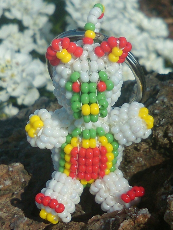 3D  Handmade Beaded Bear Key-chain / Key-ring - White, Red, Green and Yellow Czech Glass Seed Beads