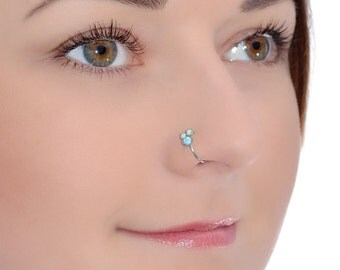 Silver Nose Ring Opal, Nose hoop, Tragus earring 20g, Cartilage ring, Rook hoop, Forward helix earring, Nose piercing, Septum ring