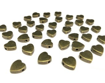 10 Antique Bronze Heart Beads (Lead and Nickel Free)