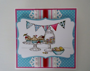 Handmade Birthday Card with Cupcakes and sweets