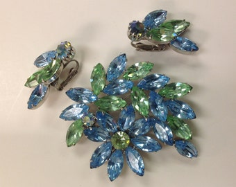 1960s Vintage Blue and Green Glass Crystal Type Brooch and Earrings Demi Parure