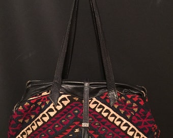 Vintage 70's Leather and Tapestry Carpet Travel Weekend Bag