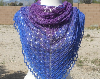 Beaded Blue and Purple Silk and Merino Crocheted Lace Shawl