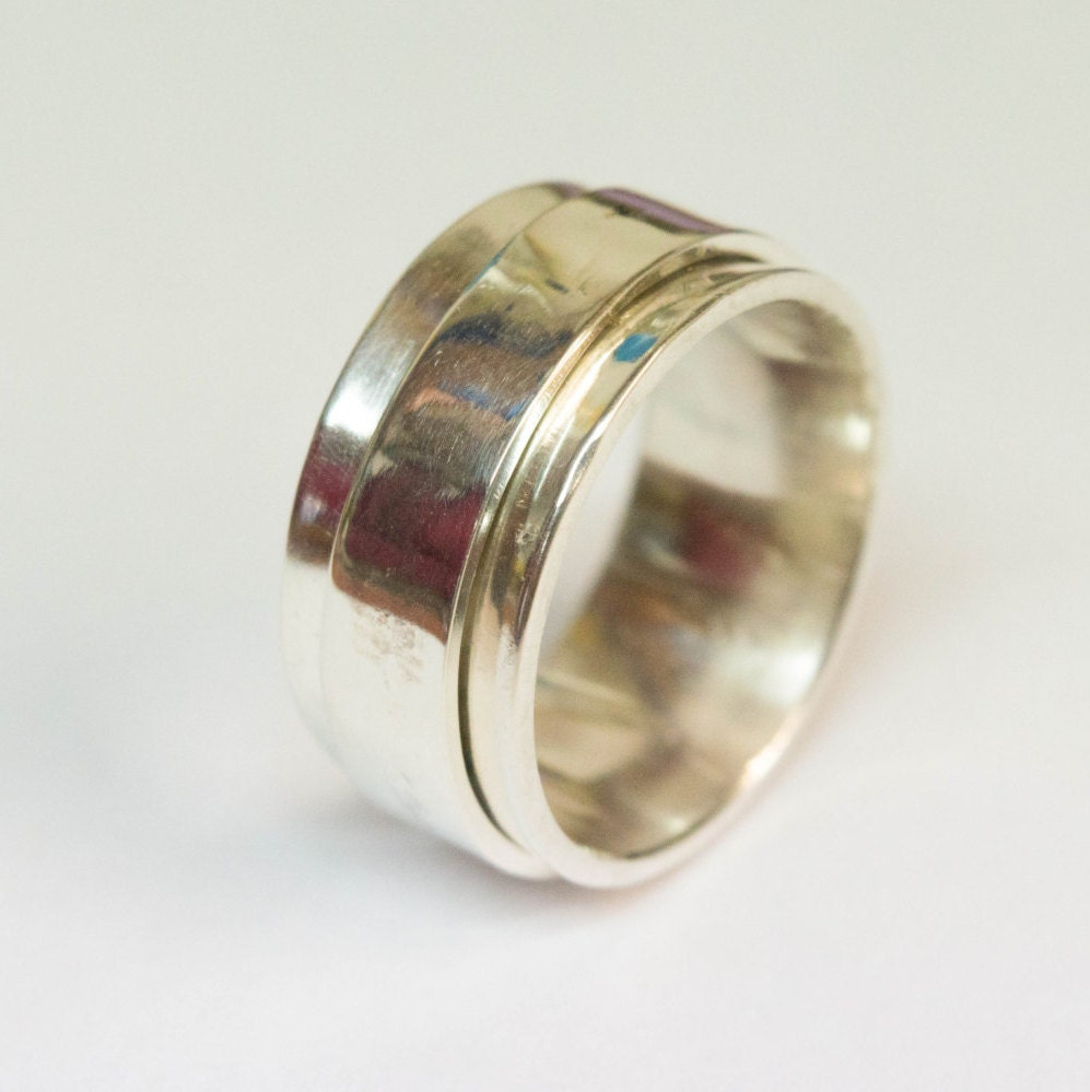 spinner ring wide band ring handmade ring with 1 spinner