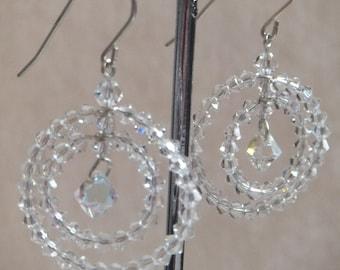 Sterling Silver Swarovski 3mm Bicone Crystal Drop Articulated Earings.