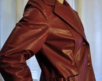 Vintage 1970s Leather Blazer / 70s Honey Brown Jacket Women's Size 10 Medium Large Coat Wide Lapel Rocker Hipster