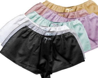 Sexy Sleeping Loungewear French Knickers Shorts - Cotton Satin Low Rise Cotton Tap Pants or Sleeping Shorts in Romantic Palette