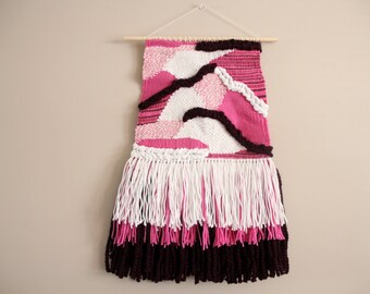 Weaving in Pinks and White, Weave, Woven Wall Hanging