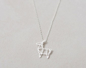 Minimalist Christmas Deer Necklace in Silver