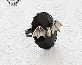 Black gothic bat ring-gothic ring-black ring-gothic jewelry-Halloween-Adjustable ring
