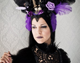 Purple extravagant horned headpiece-gothic headpiece-wgt-gothic accessories-headpiece-flower headpiece-ready to ship