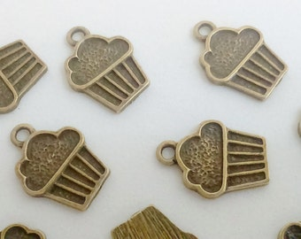 10x bronze brass cupcake pendant 17 mm charm findings supplies cake