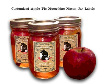 Apple Pie Moonshine Gift Tags Customized Apple Pie Moonshine Apple Pie Moonshine Mason Jar Labels Printable Moonshine Gift Tag Canning Label