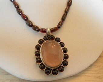 Necklace Sterling Silver, Rose Quartz and Garnet.   Stock #(1004).