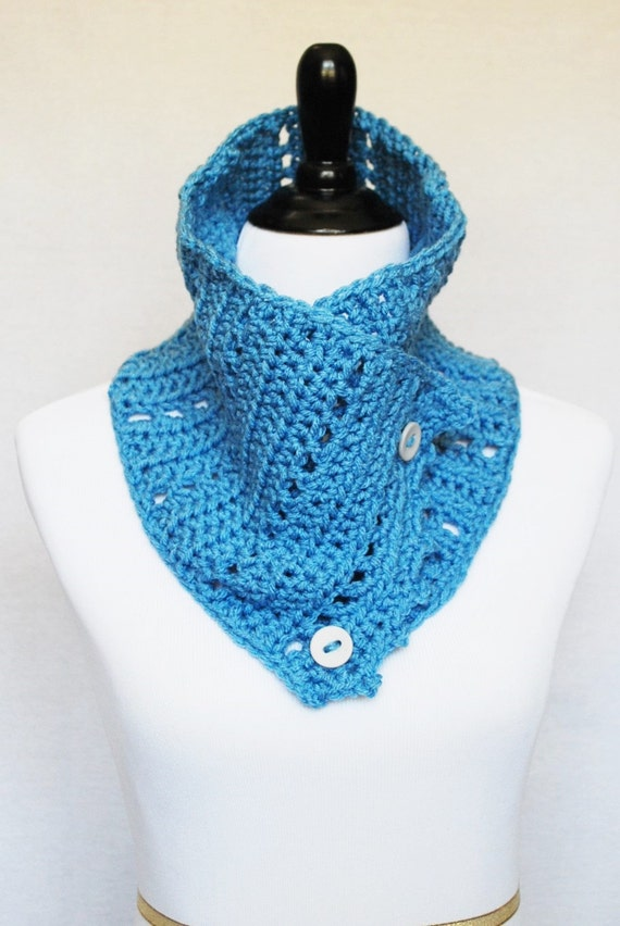 Blue Button Cowl, Crochet Wrap Scarf, Neck Warmer, Button Infinity Scarf, Lacy Crochet Cowl, Picot Edge Collar Scarf - Light Pastel Blue