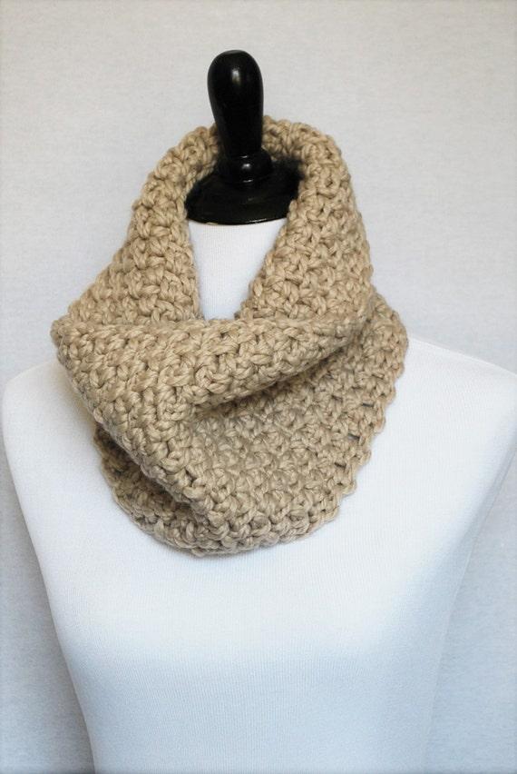Taupe Crochet Scarf, Chunky Crochet Cowl, Brown Crochet Neck Warmer,  Beige Collar Scarf, Oatmeal Infinity Scarf Tan Cowl