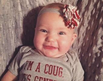 WSU Baby Bodysuit-I'm A Coug. It's Genetic. Onesie-Onepiece-Wazzu-WSU Baby Gift-Washington State-Go Cougs