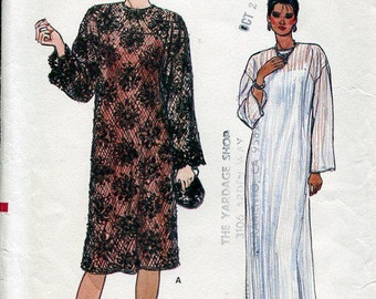 FREE US SHIP Vogue 8862 Vintage Retro 1980s 80s Slip Dress Evening or Cocktail Size 8 10 12 Uncut Sewing Pattern Pullover Bust 30 31 32