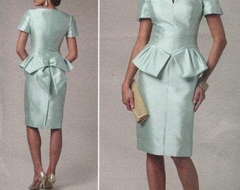 FREE US SHIP Vogue 1231 Belleville Sassoon Peplum Bow Dress 2011 Size 16/22 Bust 38 40 42 44 Sewing Pattern ff uncut