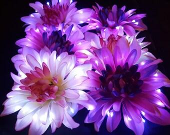 2 pack Chrysanthemum LED Light Up Hair Flower Clips