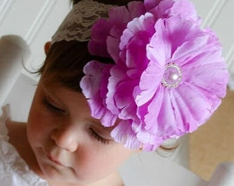 Lace headband and lavender flower clip