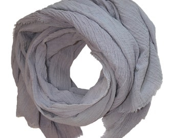 Over-Sized Lilac Gray Hand-Dyed Cotton Scarf / XL Scarf / Cotton Gauze Scarf / Women's Scarf / Large Cotton Scarf / Grey Scarf / Lilac Scarf
