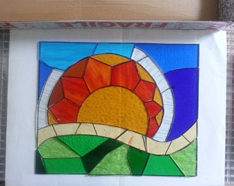 Golden Sunrise Stained Glass Panel