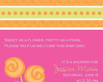 Invitation, Announcement, New Baby, Birth Announcement, Birthday Invite, Shower, Celebration Party Invitation, Posies, Original Digital B105