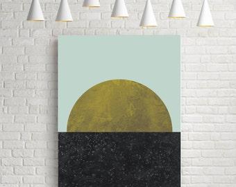 Last quarter, fine art prints, minimalist, moon print, wall art prints, wall art poster, art, home decor, gold, black, yellow, circle print