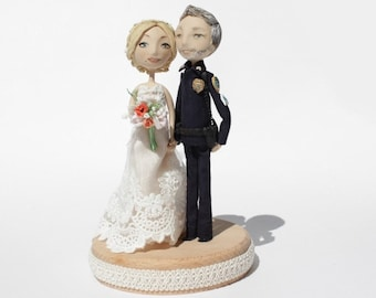 Police wedding cake topper Custom Handmade, Personalised wedding cake topper bride and groom
