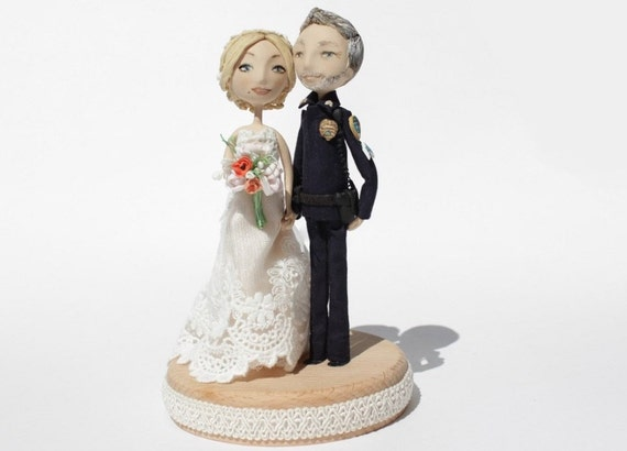 police couple wedding cake toppers wedding cake topper custom handmade personalised 18669