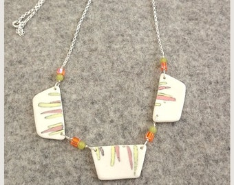 no.91 Delicate Triptych Pale Yellow and Pink Porcelain Necklace