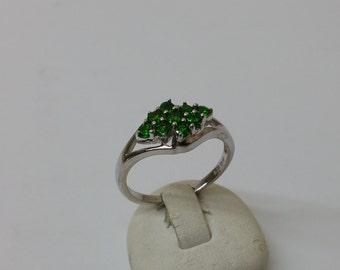 9 green Crystal stones SR674 ring 925 Silver