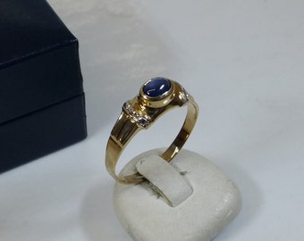375 gold ring blue Sapphire ladies ring 21 mm GR120