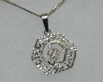 Trailer zodiac sign Scorpio 925 Silver necklace pendant SK233