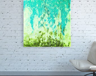 Abstract teal blue etsy for Pastel teal paint