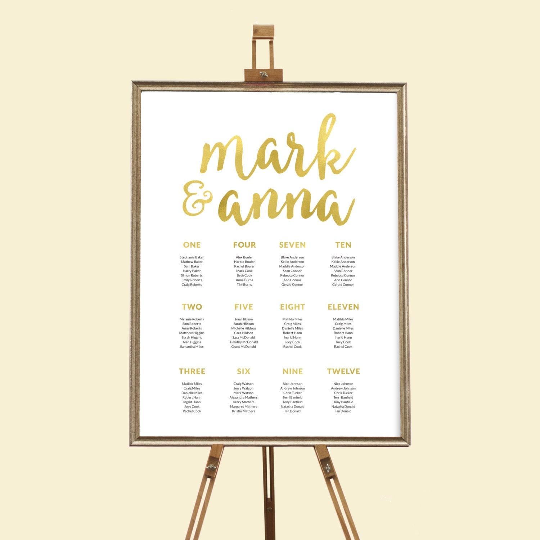 Gold wedding seating chart, Wedding seating chart printable, Printable seating chart, Wedding reception decor, Wedding decor, Seating plan